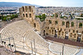 Ancient amphitheater at Acropolis, Athens, Greece Royalty Free Stock Photos