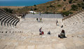 Ancient amphitheater of kourion in limassol cyprus may tourists walking around the archaeological place on may Stock Photo