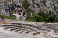 Ancient amphitheater and Lycian tombs in Myra (Turkey) Royalty Free Stock Photo