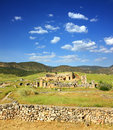 Ancient amphitheater and ruins in pamukkale turkey landscape with Royalty Free Stock Image