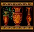 Ancient amphora and jugs vector illustration Stock Photos