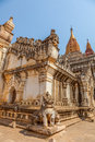 Ancient ananda temple in old bagan myanmar entrance guardian lion Royalty Free Stock Photo