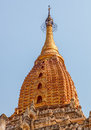 Ancient ananda temple in old bagan myanmar golden roof detail Royalty Free Stock Photography