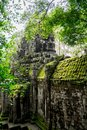 Giant face of temple gate around angkor wat temple area Royalty Free Stock Photo