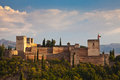 Ancient arabic fortress of alhambra granada spain panoramic view s main tourist attraction Stock Photo