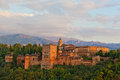 Ancient arabic fortress of alhambra view spain s main tourist attraction granada spain Royalty Free Stock Photo