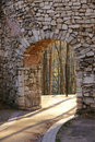 Ancient arch of fort wall Royalty Free Stock Photo