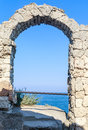 Ancient arch in the fortress on Cape Kaliakra,  Bulgaria Royalty Free Stock Photo