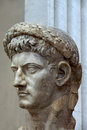 Ancient architectonic detail bust of the roman emperor claudius as jupiter Royalty Free Stock Photo