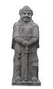 Ancient Asian stone warrior statue isolated. Royalty Free Stock Image