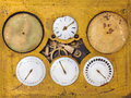 Ancient astronomical timepiece with six moving parts Royalty Free Stock Photo