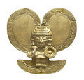 Ancient Aztec gold figure isolated.