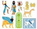 Ancient babylonian gods creatures and symbols a set of illustrations including tree of life Royalty Free Stock Image