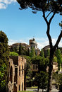 Ancient basilica church santi giovanni e paolo roma italy located on the caelian hill view from roman forum Royalty Free Stock Image