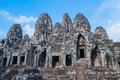 Ancient bayon temple with stone heads at angkor wat cambodia Royalty Free Stock Image