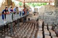 Ancient beit shean israel isr june visitors at the public bathing place in on june she an is one of the most Stock Photo