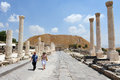 Ancient beit shean israel isr june visitors walks under pillars in on june she an is one of the most sites in Stock Photography