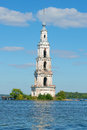 The ancient bell tower of the flooded St. Nicholas Cathedral closeup. Kalyazin, Russia Royalty Free Stock Photo