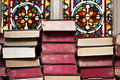 Ancient bibles stacked together Royalty Free Stock Photography