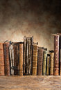 Ancient books in a row Royalty Free Stock Photo