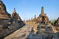 Ancient borobudur buddhist temple east java indonesia buddha statue and stupas at island Stock Images