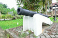 Ancient brass cannon gun image of Royalty Free Stock Photography