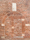 Ancient brick arches in the cathedral at albi Royalty Free Stock Images