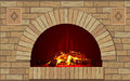 Ancient brick hearth with fire