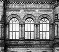 Ancient brick wall, ornate stonework Royalty Free Stock Photo