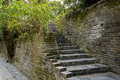 Ancient brick wall and steps in spring chengdu grey warm verdant china Royalty Free Stock Images