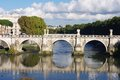 Ancient bridge in rome italy front of the saint angelo castle Stock Photos