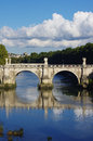 Ancient bridge in rome moscow front of the saint angelo castle italy vertical view Stock Photos