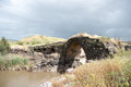Ancient bridge ruins old roman over jordan river Stock Photo