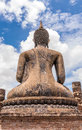 Ancient Budddha statue in Sukhothai from back Royalty Free Stock Photo