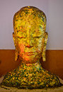 Ancient Buddha face Image, in Ancient temple,TH. Stock Photo