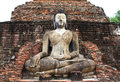 Ancient buddha statue sukhothai historical park the old town of thailand in year ago Royalty Free Stock Image