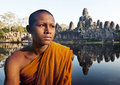 Ancient Buddhism Contemplating Monk Cambodia Concept Royalty Free Stock Photo