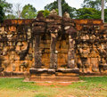 Ancient buddhist khmer temple in angkor wat cambodia terrace of the elephants Stock Image