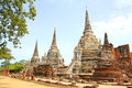 Ancient Buddhist pagoda ruins at Wat Phra Sri Sanphet temple. Royalty Free Stock Photo
