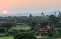 Ancient buddhist temples myanmar aerial view of bagan city at sunset Stock Photos
