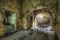 Ancient building decayed of former russian barracks in eastern germany Stock Photography
