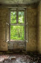Ancient building decayed of former russian barracks in eastern germany Stock Image