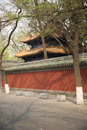 The ancient buildings and the red wall in beijing imperial academy china walls green tiles of guozijian Royalty Free Stock Photo