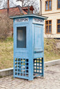 Ancient callbox stockholm phone booth in ethnographic complex skansen Stock Photography