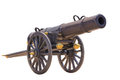 Ancient cannon on wheels isolated on white background with clipping path thai style Royalty Free Stock Photo