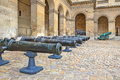 Ancient cannons. Museum at Les Invalides in Paris. Royalty Free Stock Photos