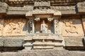 Ancient carved wall with hindu deities in Hazara Rama Jain Templ