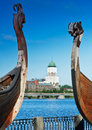 Ancient castle of Drakkar Viking in Vyborg Royalty Free Stock Photography