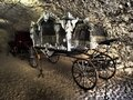 Ancient castle tunnel with an interesting background where there is an ancient carriage Royalty Free Stock Photo