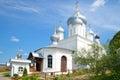 Ancient Cathedral of Nikita great Martyr and Church Pillar in Nikitsky monastery. Pereslavl-Zalessky. Russia Royalty Free Stock Photo